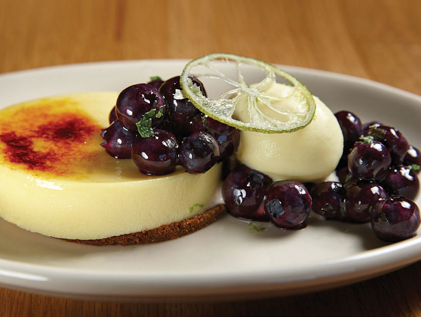 Karen Hatfield's buttermilk custard tart with lime ice cream and blueberries