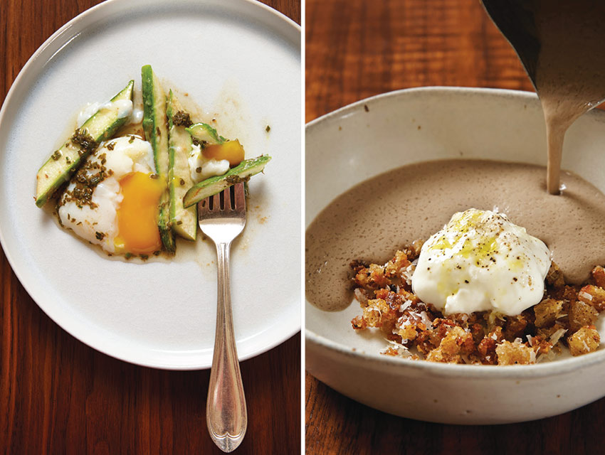 From left: Poached egg with asparagus, Reggiano, and chives; mushroom velouté with Greek yogurt and sourdough crumbs