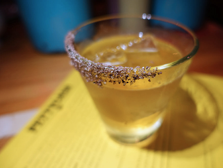 Petty Cash's The Burnpile: Ancho chile liqueur, Oaxacan mezcal, tequila blanco, mint, cocoa salt