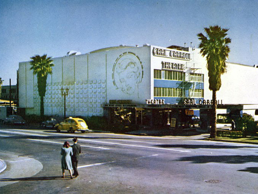 A vintage postcard of the Earl Carroll Theatre from the 1940s
