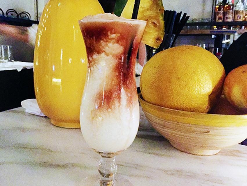 Cassia's Lava Flow: rum, housemade coconut liqueur, pineapple, coconut cream, housemade strawberry balsamic gastrique