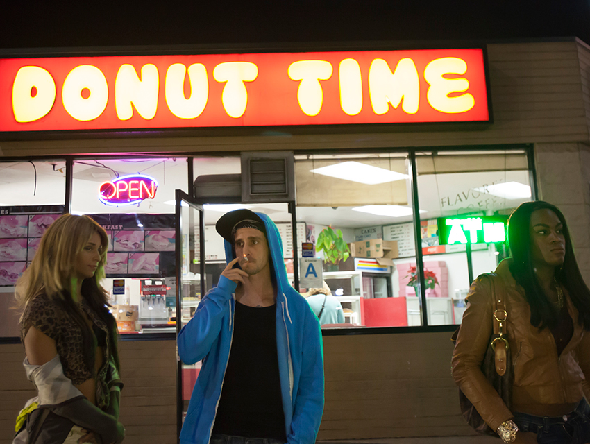 "Kitana Kiki Rodriguez, James Ransone and Mya Taylor in ""Tangerine."""