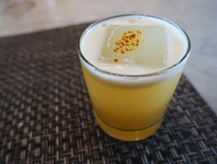 Birch's Bee pollen cocktail with scotch, yuzu, chamomile, honey