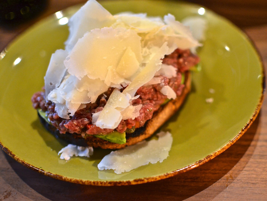 Parmagiano Raspadura on Filet Mignon Tartare