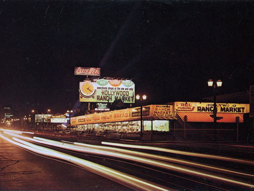 A vintage postcard of the Hollywood Ranch Market