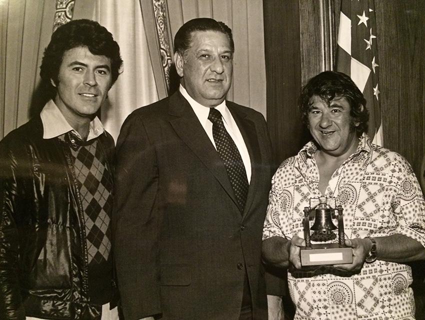 James Darren, Philadelphia Mayor Frank Rizzo, and Buddy Hackett, who was presented the Liberty Bell in Philadelphia
