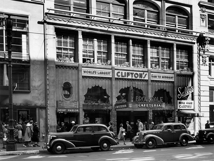 The original facade of the building shown here in 1935, was encased in metal for more than 50 years