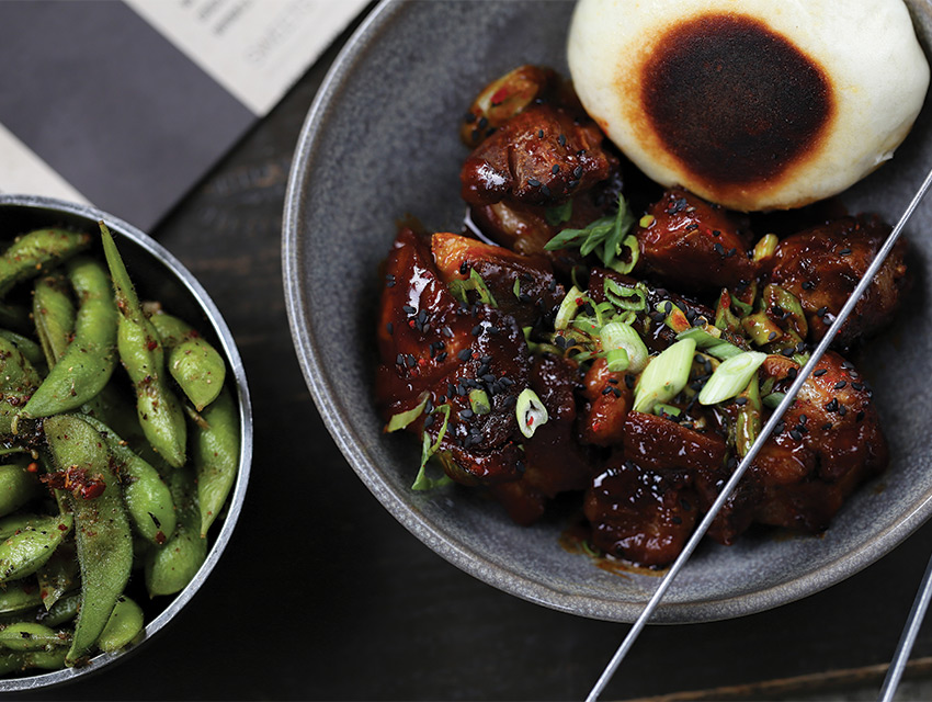 Rib tips and edamame at bellyQ