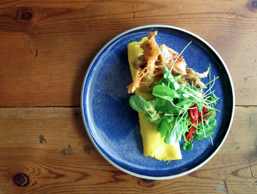 This soft shell crab omelette is also on the breakfast menu