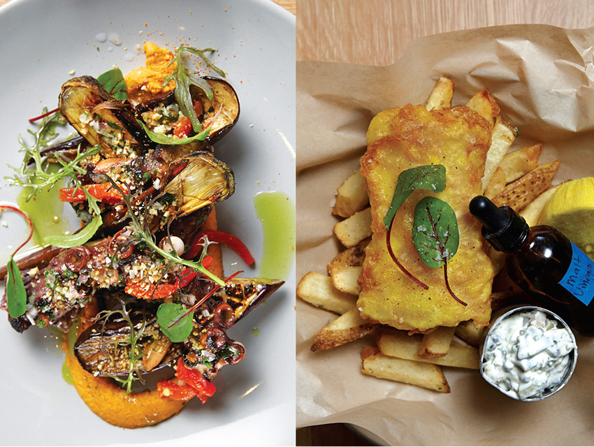 Charred octopus with Japanese eggplant, red pepper hummus, and chimichurri (left); fish-and-chips