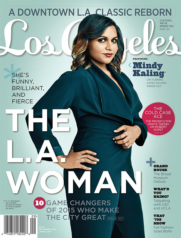 Mindy Kaling poses for this year's L.A. Woman cover.