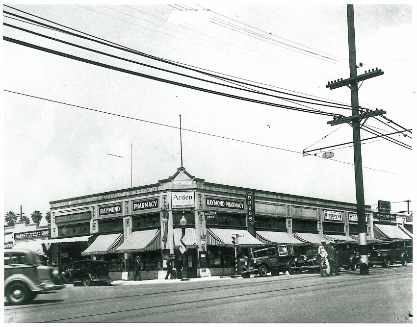 A photos of the Fair Oaks Pharmacy back in the 1930s when it was named Raymond Pharmacy