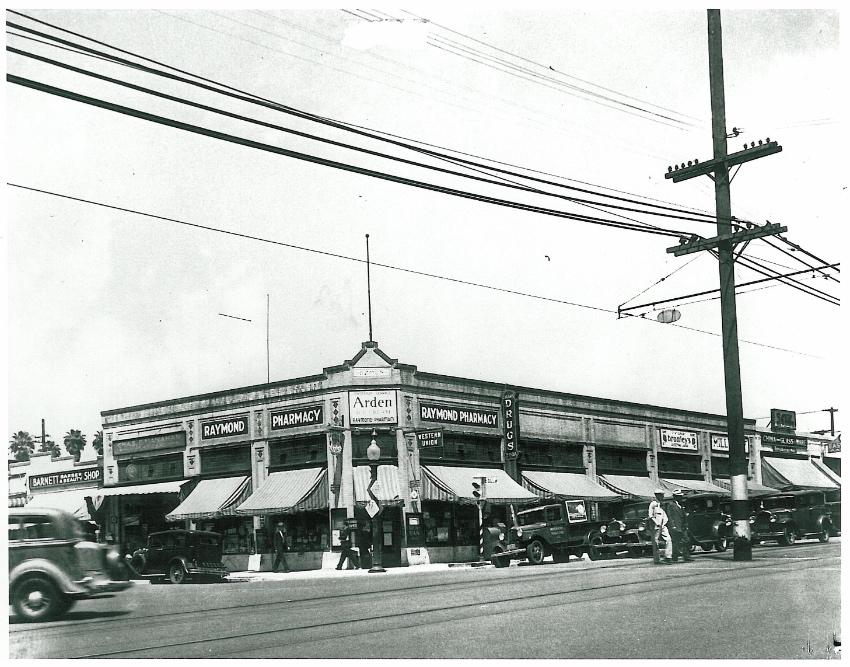 A photos of the Fair Oaks Pharmacy back in the 1930s when it was named Raymond Pharmacy