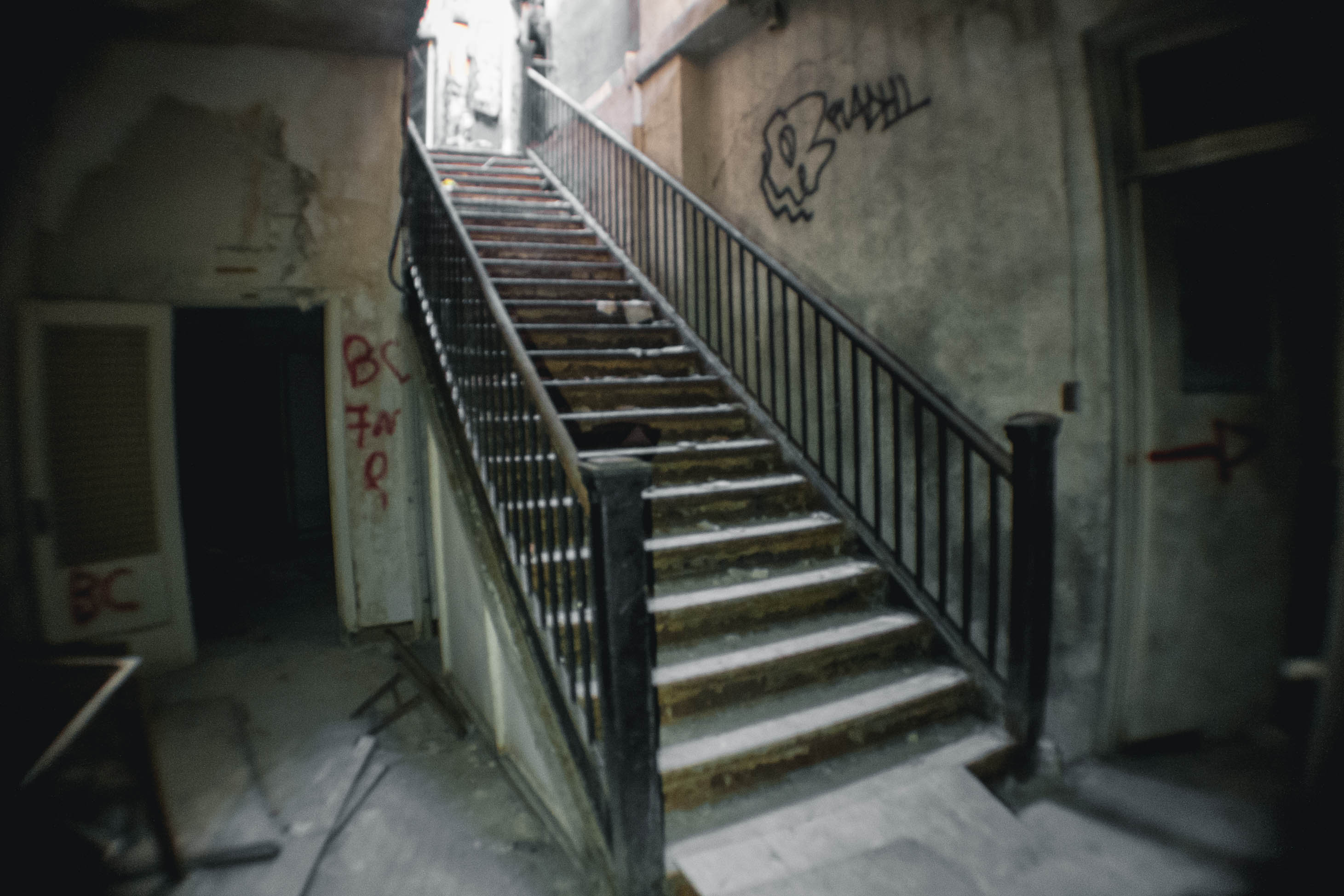 """""""This staircase led from the fire-damaged roof down into one of the buildings."""""""