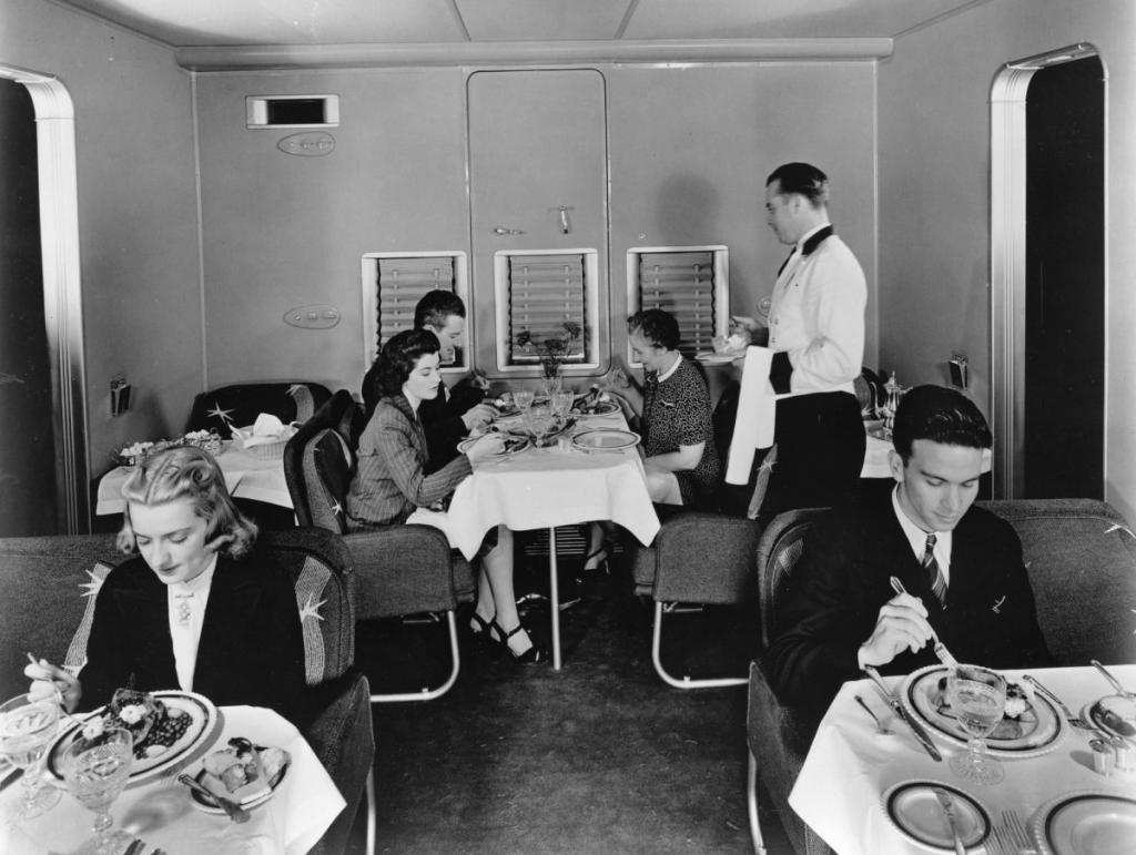Dinner aboard a Boeing 314 flying boat, circa 1935