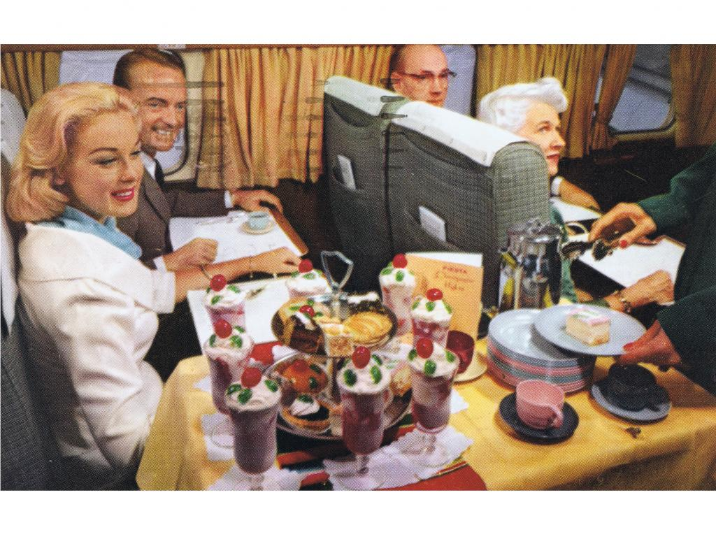 "The dessert cart aboard a Western Airlines ""Fiesta Flight"" to Mexico, featuring no actual Mexican food, 1959"