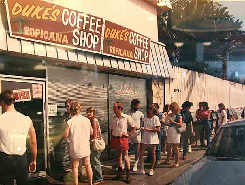 The line at Duke's Coffee Shop