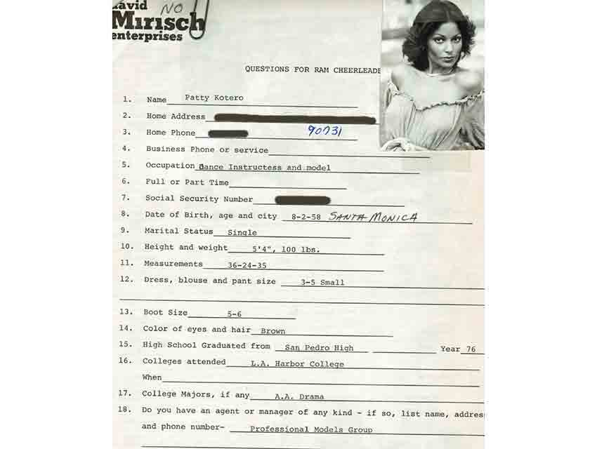 "The first page of the questionnaire that Patti Kotero filled out in 1978 when she auditioned to become a Rams cheerleader. Years later she dubbed herself ""Apollonia."""