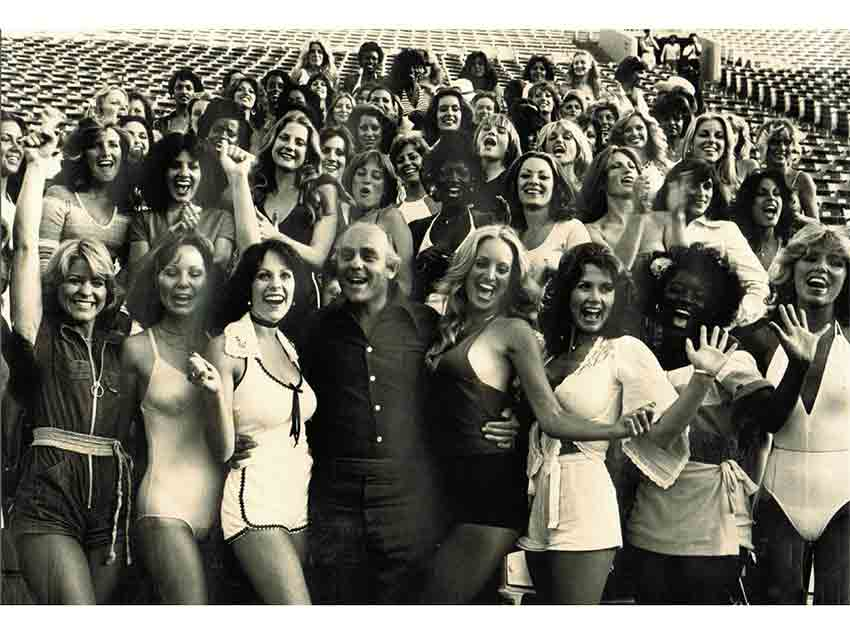 David Mirisch along with the 50 finalists auditioning to become the first Los Angeles Rams cheerleading squad in 1978.