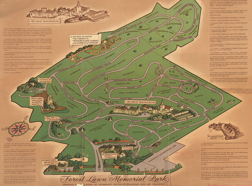 Pictorial Map of Forest Lawn Memorial Park, Forest Lawn Memorial Park c. 1950
