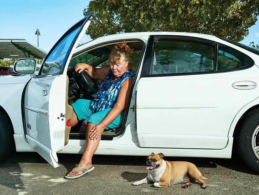 Unsettled debra aujay has been living out of her car with her dog, carlton, for the past two years