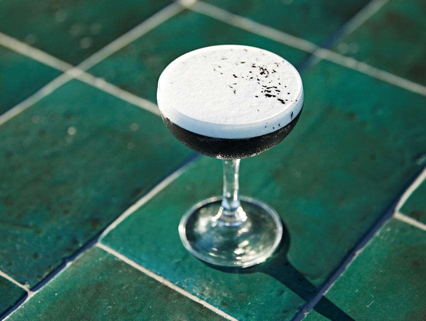 EP/LP's Black Thai Optional: Lychee, Gin, Housemade Activated Coconut Husk Charcoal, Lemon, Amaro, and Egg White