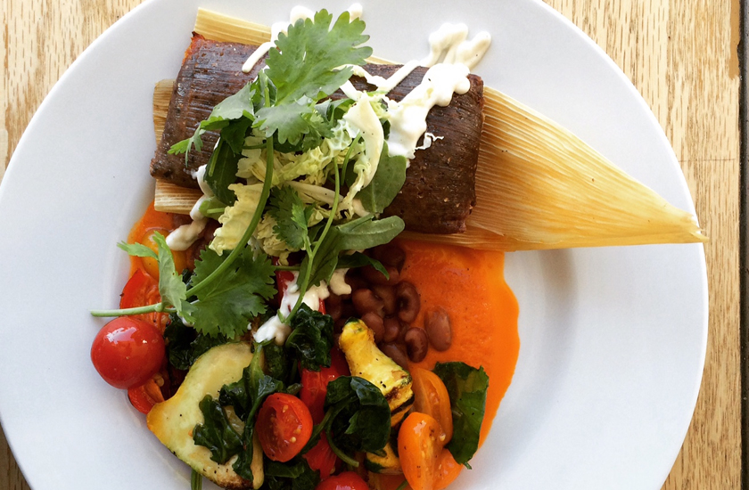 Pumpkin blue corn tamale at Chavela