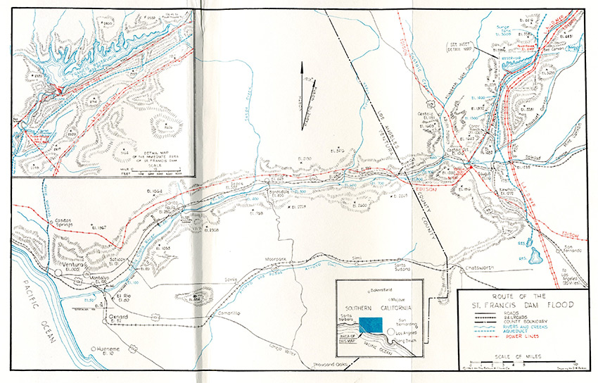 Route of the St. Francis Dam Flood From the book by Charles F. Outland and Arthur H. Clark, cartographer D.H. Baker