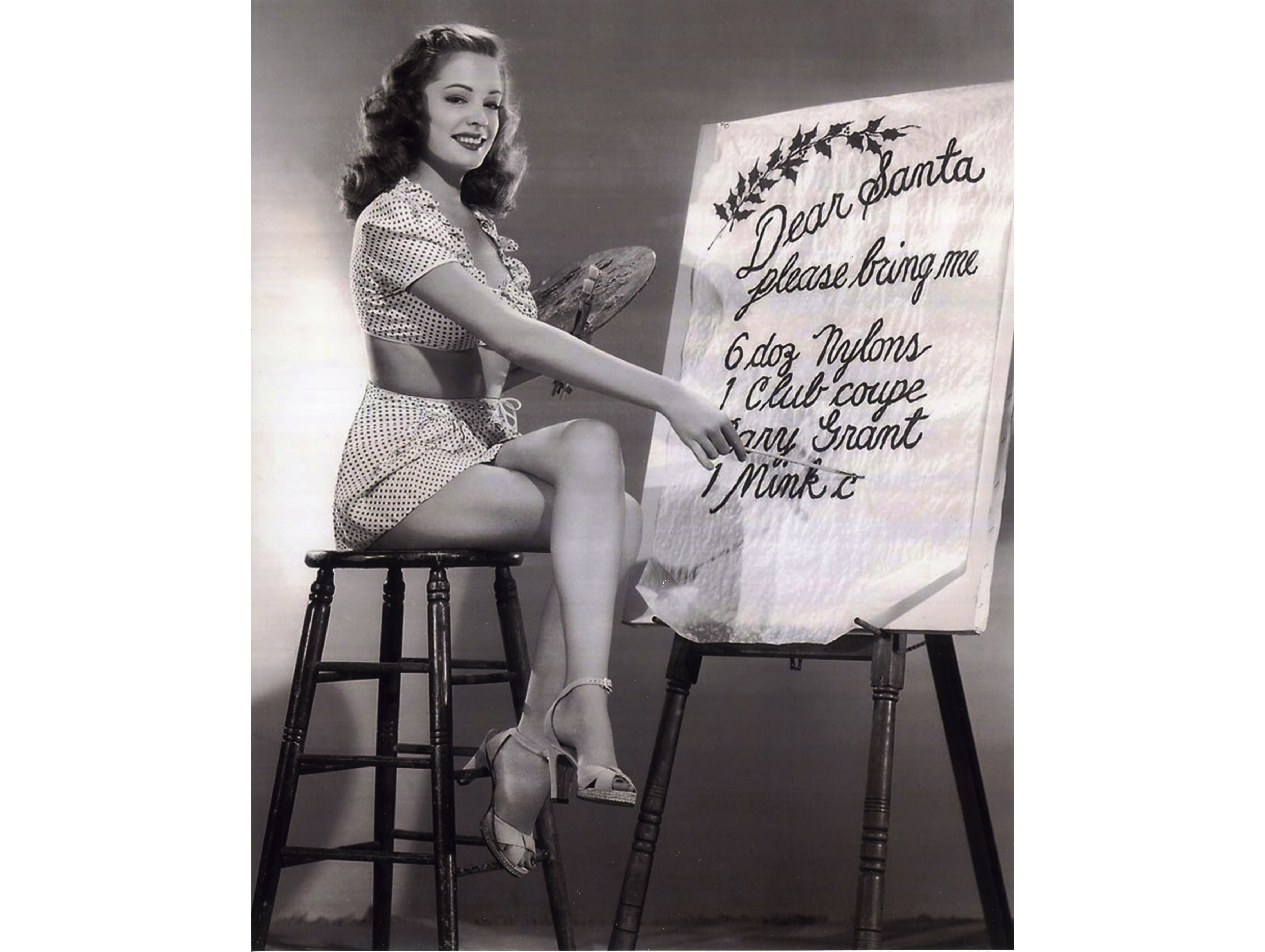 Sultry Jane Greer drafts her Christmas want list.