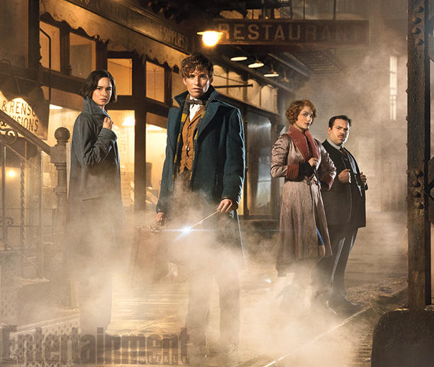 "Katherine Waterston as Porpentina ""Tina"" Goldstein, Eddie Redmayne as Newt Scamander, Alison Sudol and Queenie Goldstein, and Dan Fogler as Jacob Kowalski."