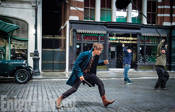 Eddie Redmayne as Newt Scamander on set in the UK.