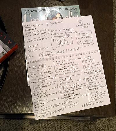 Jimmy Kimmel's handwritten notes