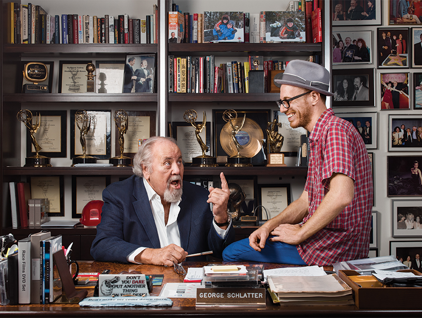 In the office of producer George Schlatter, who helped launch the careers of Lily Tomlin and Robin Williams. Schlatter wanted to meet Nesteroff after reading his piece on Moms Mabley