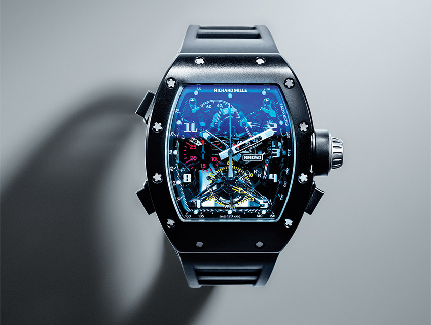 FAST TIMES: A Richard Mille RM 050 owned by Jeff Hyland. The split-seconds chronograph is one of ten made by the Swiss Firm