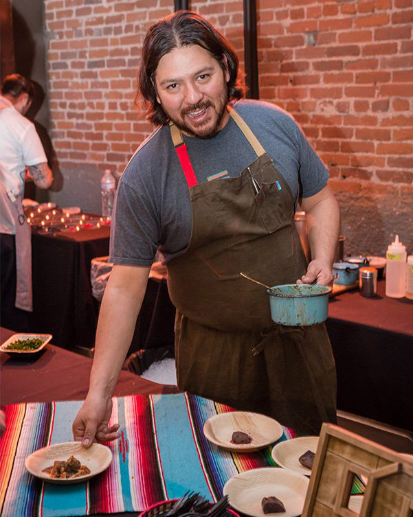 Ray Garcia of Broken Spanish served camote with sweet Potato, pig Tail, trompa, chile de arbol and verjus