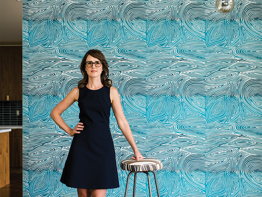 Becket designed the wallpaper and textiles for her latest home renovation