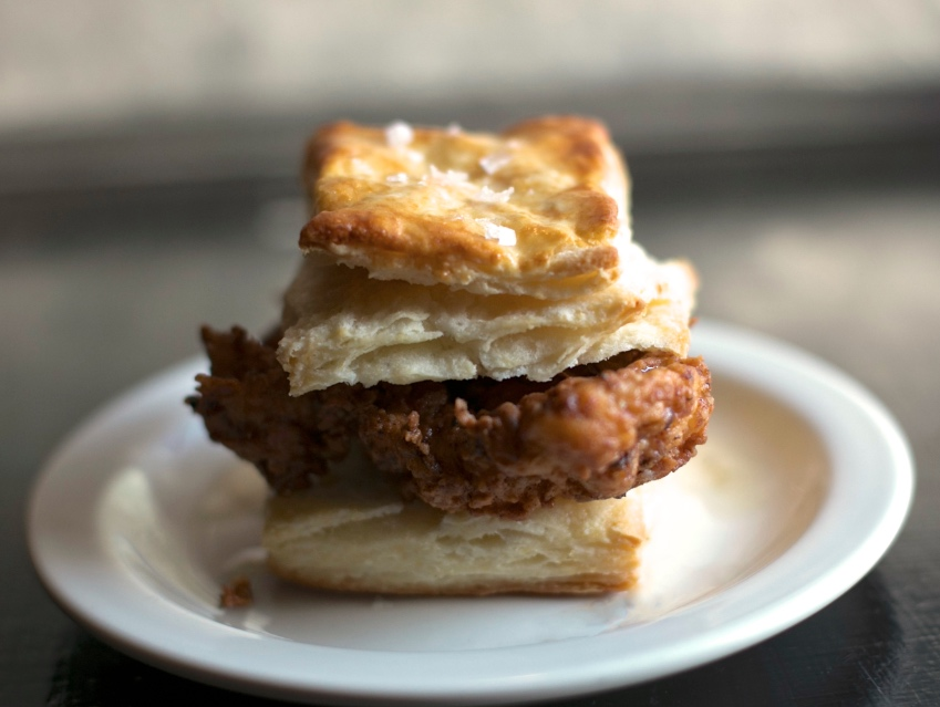 The Fried Chicken Biscuit is dressed with chile vinegar and honey butter
