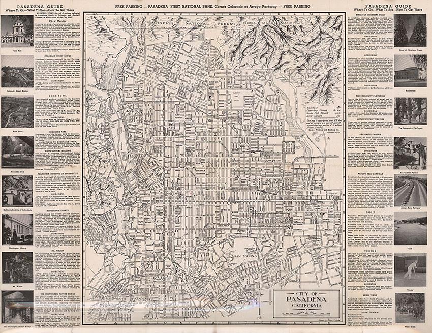 Pasadena Map and Street Index, Pasadena - First National Bank, John L. Lynde - cartographer, 1941