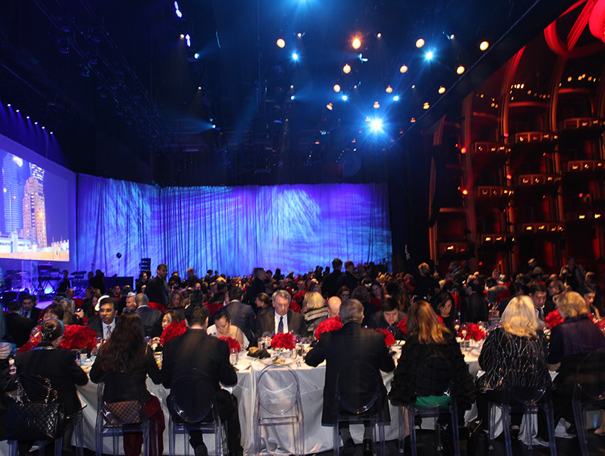 Not your usual vantage point. Dinner on the Dolby stage