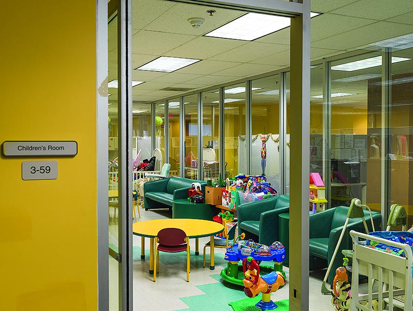 The kids playroom at the Pasadena office of DCFS