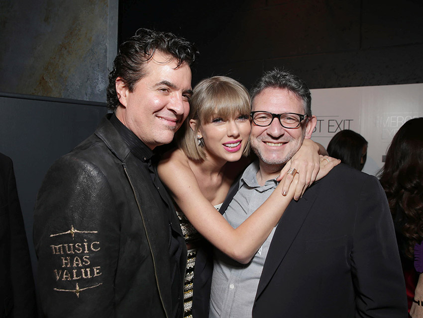 Founder Big Machine Records Scott Borchetta, Taylor Swift, CBE Chairman & UMG CEO Lucian Grainge attends Universal Music Group's 2016 Grammy After Party presented by American Airlines and Citi