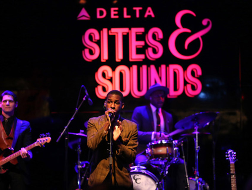 """Delta Air Lines, the Official Airline Partner of the GRAMMY Awards®, hosts """"Sites and Sounds,"""" a private performance and interactive evening with Leon Bridges at NeueHouse Hollywood to celebrate the 58th Annual GRAMMY Awards"""