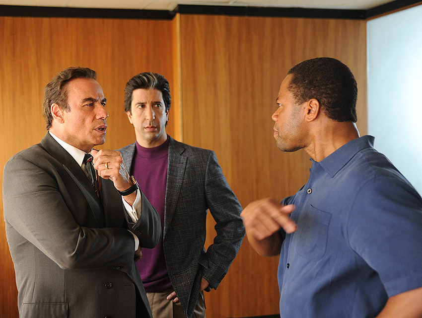 L-R: John Travolta as Robert Shapiro, David Schwimmer as Robert Kardashian, Cuba Gooding Jr. as O.J. Simpson