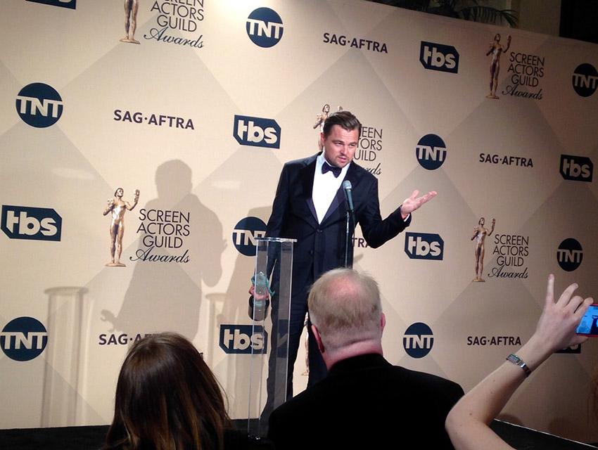 Leonardo DiCaprio backstage at the SAG Awards