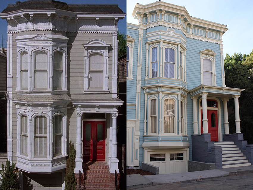 "Left: A screen capture from ""Fuller House,"" featuring the home on Broderick Street. Right: A replica of the Broderick Street abode on the Warner Bros. lot."