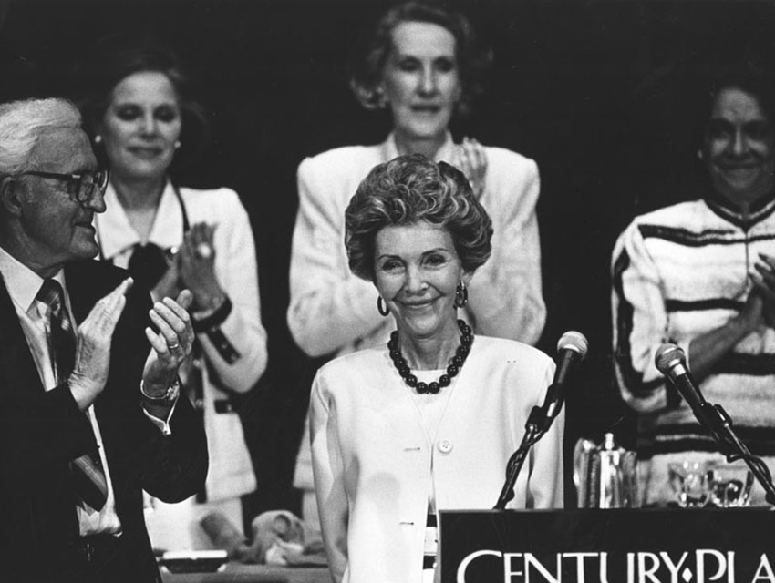 "Nancy Reagan delivers one of her famous ""Just Say No"" speeches at the L.A. World Affairs Council luncheon"