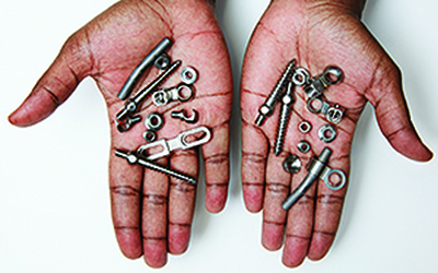 The allegedly bogus hardware removed from Moses's back