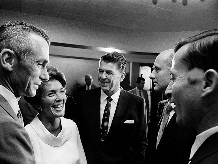 Then-Govenor Ronald Reagan and wife Nancy talking with astronauts Eugene Cernan, Thomas Stafford, and John Young at the Hollywood Palladium
