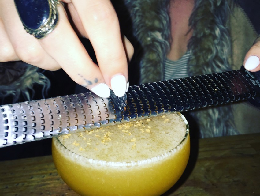 From Harvard & Stone's Instagram: Aaron Polsky's 25 Karat Gold cocktail in the R&D bar.