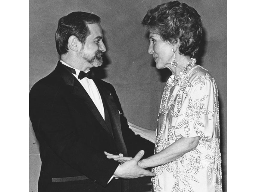 Nancy Reagan kicking off festivities for the Joffrey Ballet in 1987